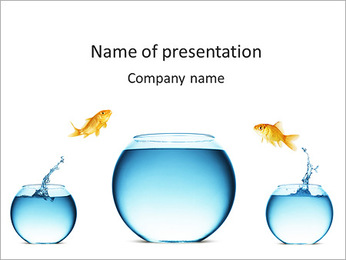 Three Aquariums With Golden Fish PowerPoint Template