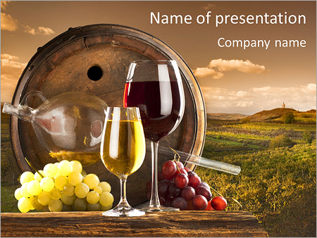 wooden barrel with wine powerpoint template backgrounds google