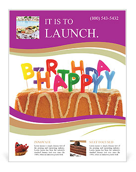 happy birthday cake with candles flyer template design id
