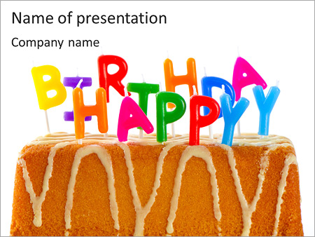 Happy Birthday Cake With Candles PowerPoint Template