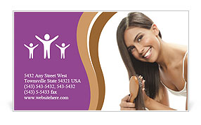 Woman Brushes Hair Business Card Templates