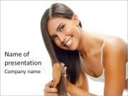 Woman Brushes Hair PowerPoint Templates