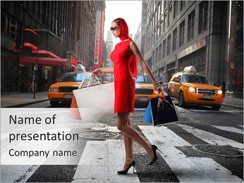 Elegant Woman Shopping PowerPoint Template