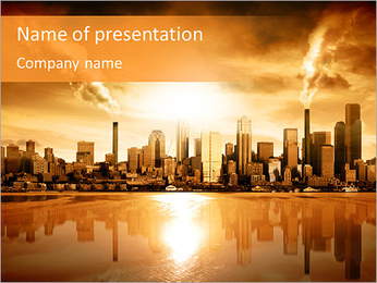 City At Sunset PowerPoint Template
