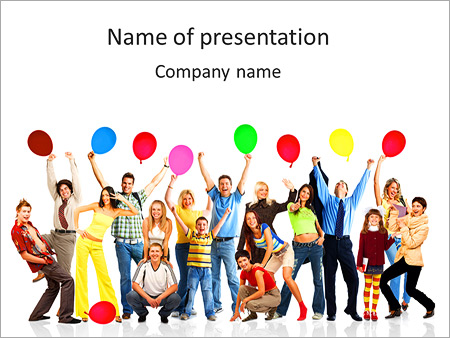 Friends At Party Powerpoint Template Backgrounds Google Slides
