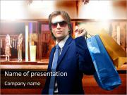 Stylish Man Goes Shopping PowerPoint Templates