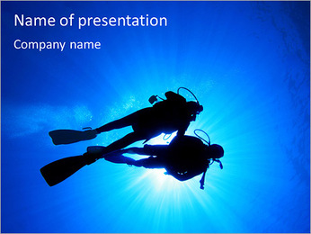 Diver In The Sea PowerPoint Template - Slide 1