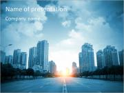 Sunrise In Big City PowerPoint Templates