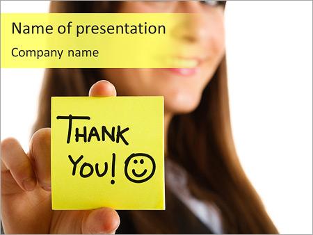 Thank You Written On Sticker Powerpoint Template Backgrounds