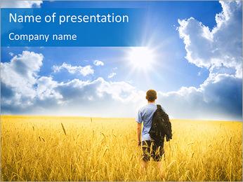 Man In Champ de blé Modèles des présentations  PowerPoint
