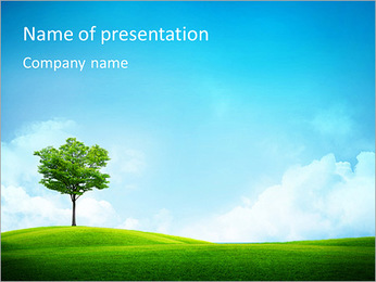 Single Tree In The Valley PowerPoint Template