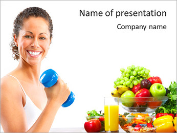 Active Woman With Barbell PowerPoint Template