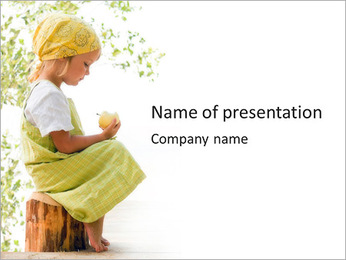 Cute Girl With Apple PowerPoint Template