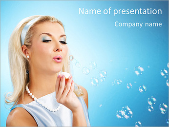Woman With Soap Bubble PowerPoint Template