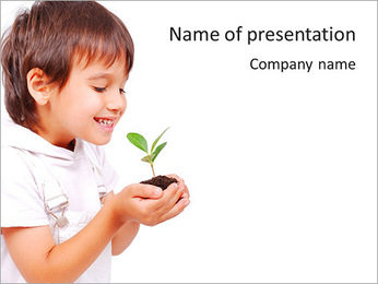 Boy Cares About Nature PowerPoint Template