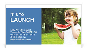 Girl Eats Watermelon Business Card Template