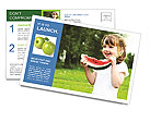 Girl Eats Watermelon Postcard Templates