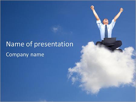Businessman On Cloud Powerpoint Template Backgrounds Google