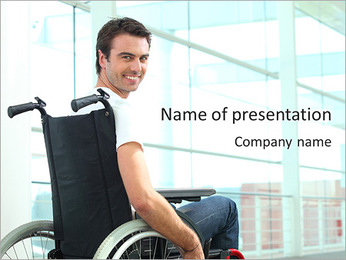 Man On Invalid Chair PowerPoint Template