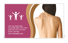 Woman Has Back Pain Business Card Template