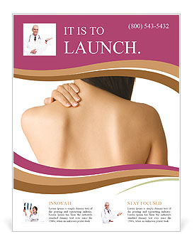 Woman Has Back Pain Flyer Template Design ID - Massage therapy brochure templates