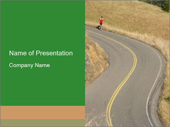 Runner on Rural Road PowerPoint Template