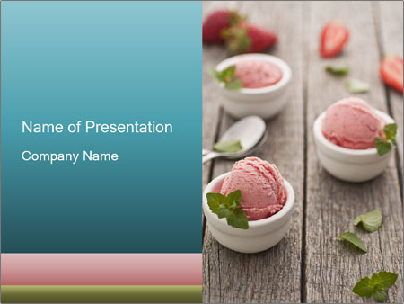 strawberry ice cream powerpoint template & backgrounds id, Presentation templates