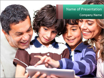 Family Members Loking at Tablet PowerPoint Template