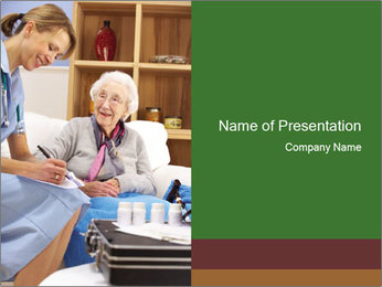 Nurse with Old Woman PowerPoint Template