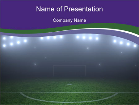 empty soccer field powerpoint template & backgrounds id 0000030275, Powerpoint templates