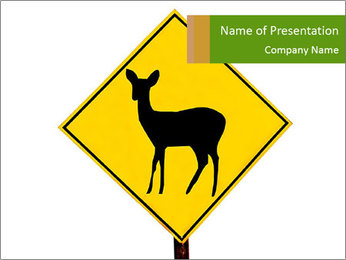 Deer Road Sign PowerPoint Template