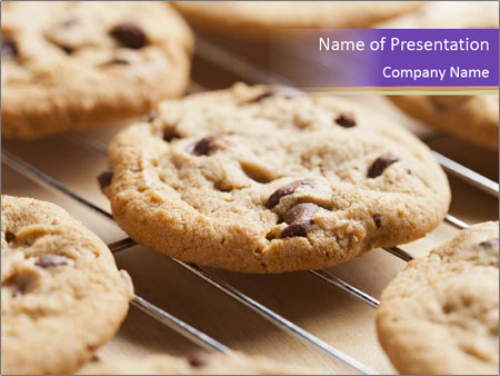 delicious cookies with chocolate chip powerpoint template