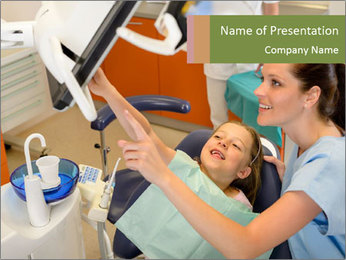 Dentist with Small Client PowerPoint Template
