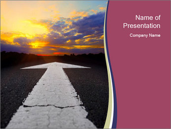 Road Arrow Pointing to Sunset PowerPoint Template