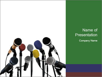 Microphones for Press Conference PowerPoint Template