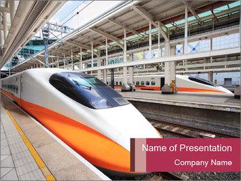 Platform at Railstation PowerPoint Template