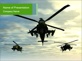 Three Apache Helicopters PowerPoint Template