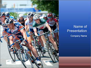Cyclists on the Road PowerPoint Template