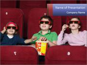Kids in 3D Cinema PowerPoint Templates