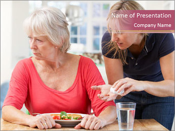 Senior Woman Refuses to Take Pills PowerPoint Template