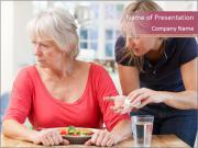 Senior Woman Refuses to Take Pills PowerPoint Templates