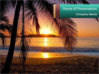 Beach on Costa Rica PowerPoint Template