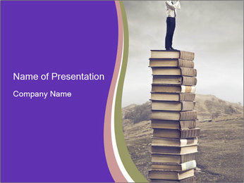 Educated Man Standing on Books PowerPoint Template