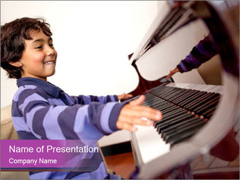 Boy Playing Piano PowerPoint Template