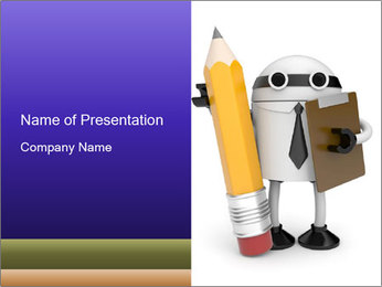 Robot Holding Pencil and Clipboard PowerPoint Template