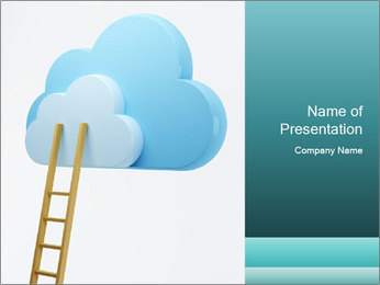 Stairs to Cloud Icon PowerPoint Template