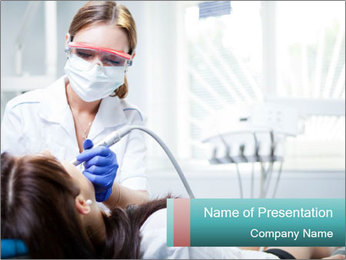 Woman Dentist with Patient PowerPoint Template