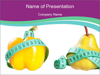 Yellow Pepper and Pear with Measuring Tape PowerPoint Template