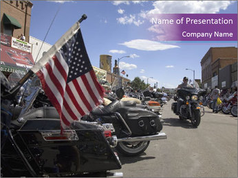 Motorcycle with American Flag PowerPoint Template