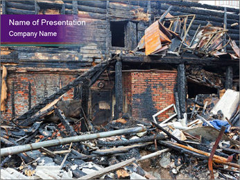 Burned Ruins of the House PowerPoint Template